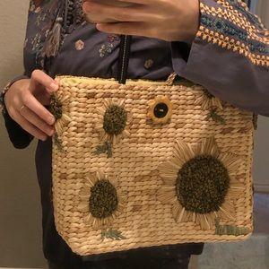 Bags - Straw handbag sunflower medium sized